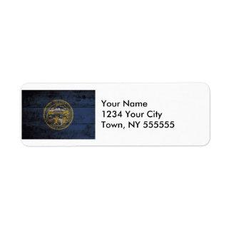 Nebraska State Flag on Old Wood Grain Return Address Label