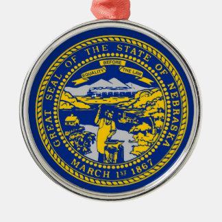 Nebraska State Flag Silver-Colored Round Ornament
