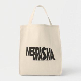 Nebraska State Name Word Art Black Tote Bag