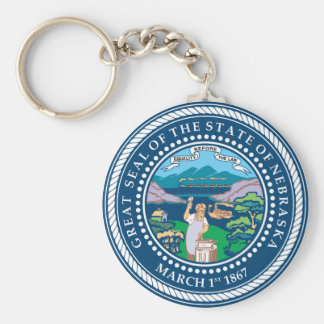 Nebraska state seal america republic symbol flag keychain