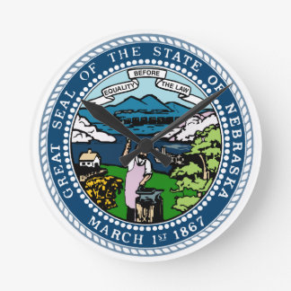Nebraska State Seal Round Clock