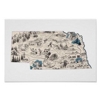 Nebraska Vintage Picture Map Poster