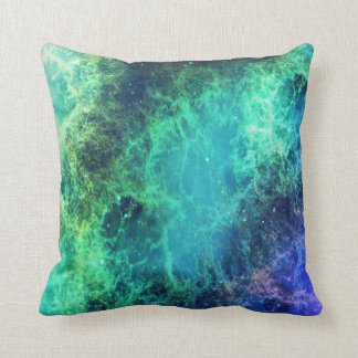 Nebula Green Blue Flames space Throw Pillow