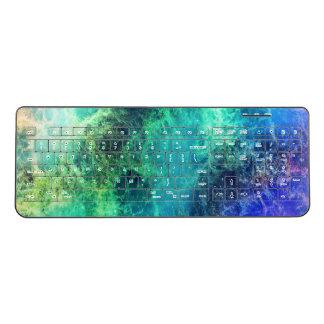 Nebula Green Blue Flames space Wireless Keyboard