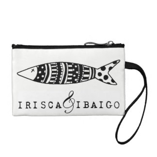 Neceser with key ring illustration black and white coin purse