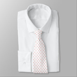Neck Tie White with Red Dots