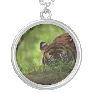 Necklace-Animals-Crouched Tiger Silver Plated Necklace