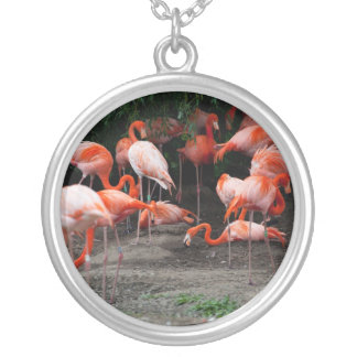 Necklace-Animals-Pink Flamingos Silver Plated Necklace