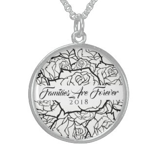 Necklace B & W Roses Sterling-Families Are Forever