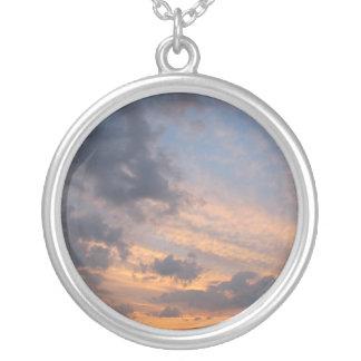 Necklace-Blue-Pink Sky Round Pendant Necklace