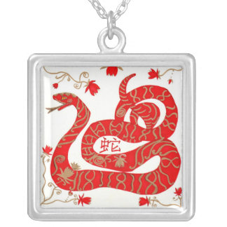 Necklace, Chinese New Year Snake Silver Plated Necklace