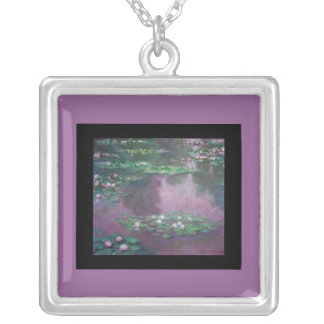 Necklace-Classic Art-Monet-Water Lily Pond Silver Plated Necklace