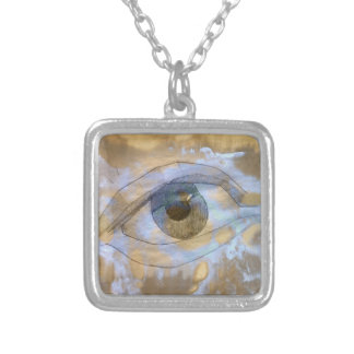 Necklace eye blended with light blue cream texture