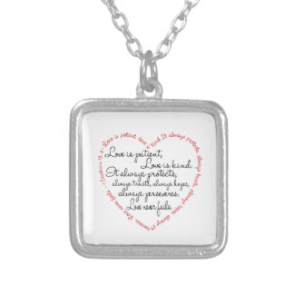 Necklace - Love is Patient Word Heart