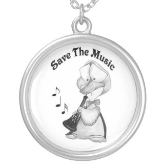 necklace_save the music silver plated necklace