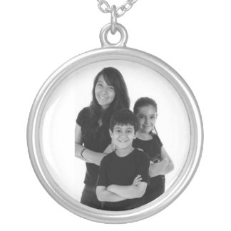 Necklace Silver Family  Children Add Photo