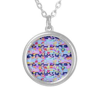 Necklace Silverplated Custom blue pink lavendar