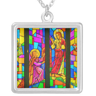 Necklace-Stained Glass-4 Silver Plated Necklace