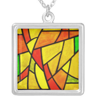 Necklace-Stained Glass-8 Silver Plated Necklace