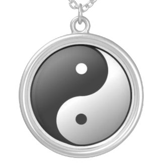 Necklace: Sterling Silver Plate Ying Yang Symbol Silver Plated Necklace