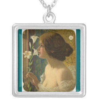 Necklace-Vintage-Girl with a Lily Silver Plated Necklace