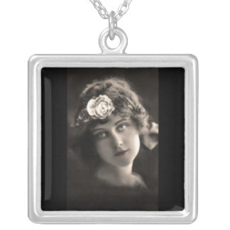 Necklace-Vintage-Young Woman w/Hair Flower Silver Plated Necklace