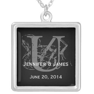 Necklace with Monogram Bride Groom Names Date