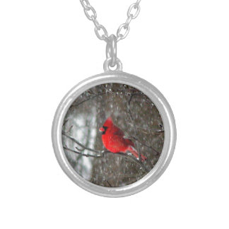 necklace with photo of male cardinal