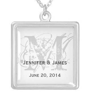 Necklaces Monograms Names Save the Date Grey