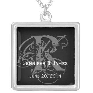Necklaces with Monogram Bride Groom Names Date