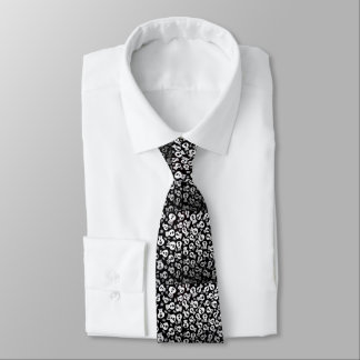 necktie with skulls in black and white