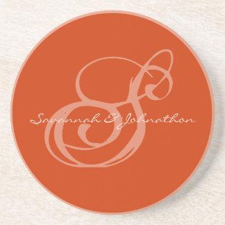 Nectarine Monogram Wedding Anniversary Coasters