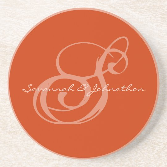 Nectarine Monogram Wedding Anniversary Coasters