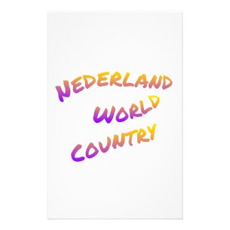 Nederland world country, colorful text art customized stationery