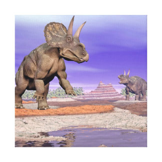 Nedoceratops/diceratops dinosaurs in nature canvas print