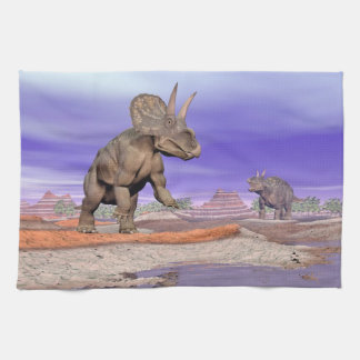 Nedoceratops/diceratops dinosaurs in nature kitchen towel