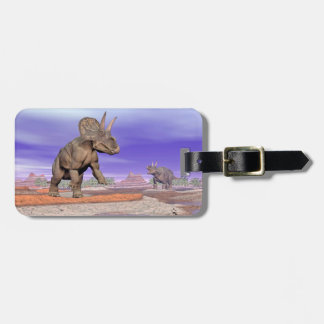 Nedoceratops/diceratops dinosaurs in nature luggage tag