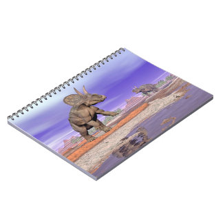 Nedoceratops/diceratops dinosaurs in nature notebooks
