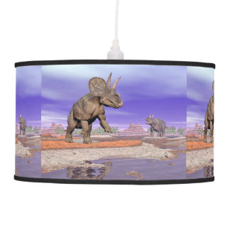 Nedoceratops/diceratops dinosaurs in nature pendant lamp