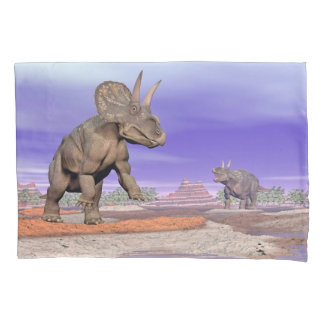 Nedoceratops/diceratops dinosaurs in nature pillowcase