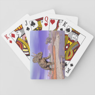 Nedoceratops/diceratops dinosaurs in nature playing cards