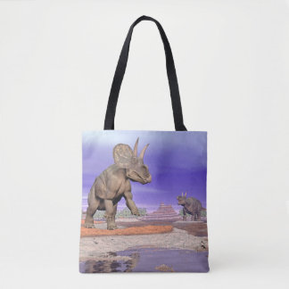 Nedoceratops/diceratops dinosaurs in nature tote bag