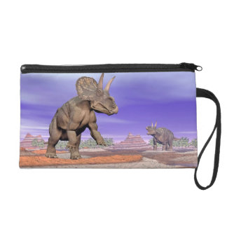 Nedoceratops/diceratops dinosaurs in nature wristlet