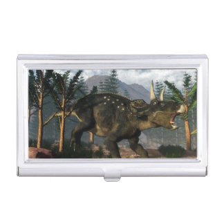 Nedoceratops roaring while running - 3D render Business Card Holder