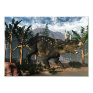 Nedoceratops roaring while running - 3D render Card