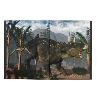 Nedoceratops roaring while running - 3D render Cover For iPad Air