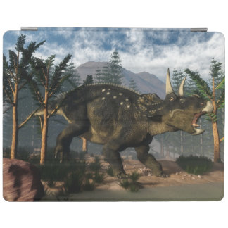 Nedoceratops roaring while running - 3D render iPad Cover