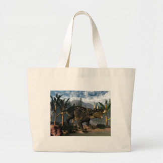 Nedoceratops roaring while running - 3D render Large Tote Bag