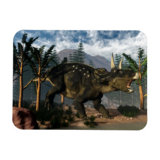 Nedoceratops roaring while running - 3D render Magnet