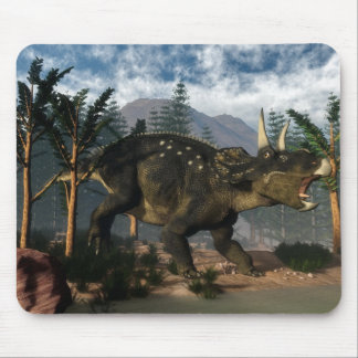 Nedoceratops roaring while running - 3D render Mouse Pad